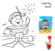 Little boy with swimming circle, flippers and mask on the beach. Coloring book. Cartoon  vector illustration