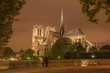 Paris - Notre-Dame cathedral at night.