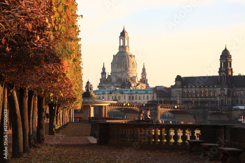 Poster View from the Japanese Palace in Dresden to the Frauenkirche in autumn at sunse