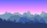 Beautiful mountain morninglandscape. Silhouette of a forest on t