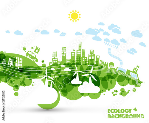 Green eco city with hybrid car and green energy power plants. Ecology concept illustration. - 127122810