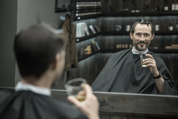 Pause for drink in barbershop