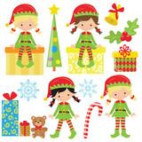 Christmas elf girl vector cartoon illustration - 127138202