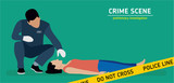 Flat illustration. Murder investigation