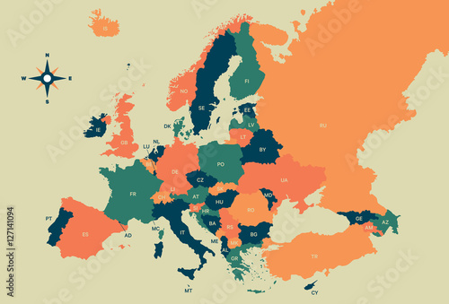 Europe Vector Map Poster