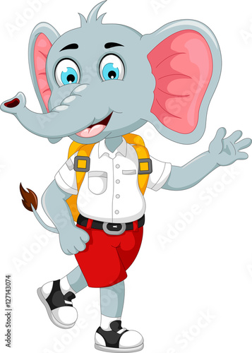 funny male elephant cartoon going to school
