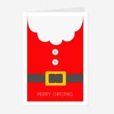 Santa Claus Coat with beard, fur, button and yellow belt. Big Merry Christmas greeting card. Red background. Flat design