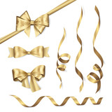 Vector set of shiny golden ribbons and bows. Collection of realistic elements for your design gift card or invitation. Isolated from the background. - 127156205