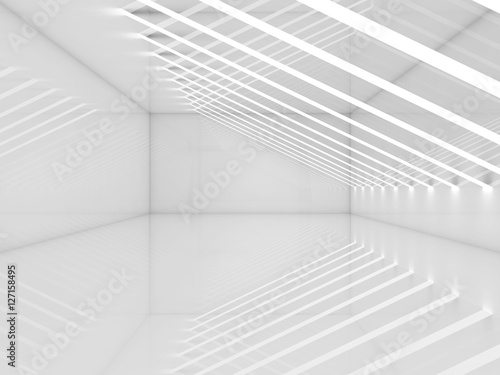 Staande foto Abstract wave 3d white room with thin stripes of ceiling lights