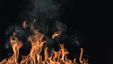 slow motion smoky flames