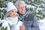Senior couple in winter park