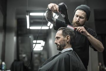 Drying hair in barbershop