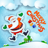 Christmas snowy landscape with happy Santa and text