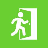 Icono plano salida en fondo verde