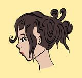 Portret zijkant vrouw kleur
