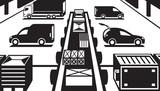 Cargo handling in warehouse - vector illustration