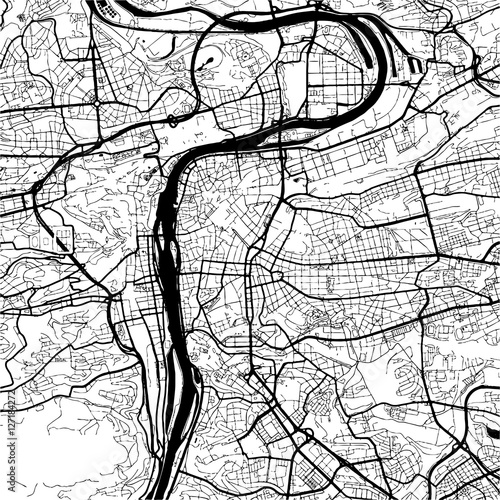 Prague, Czech Republic, Monochrome Map Artprint - 127184272