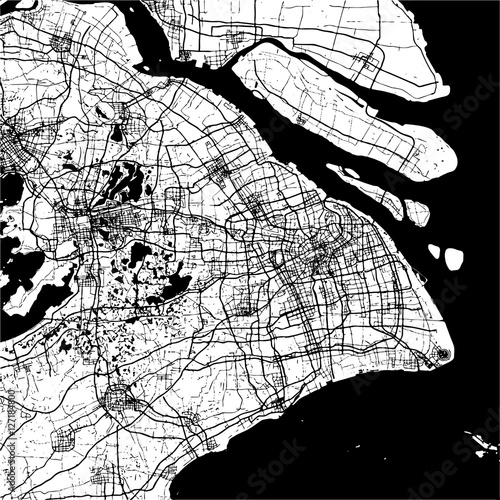 Shanghai, China, Monochrome Map Artprint - 127184800