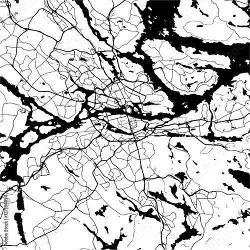 Poster Stockholm, Sweden, Monochrome Map Artprint