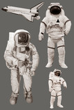 Astronaut and space shuttle Isolated on grey background - 127187003