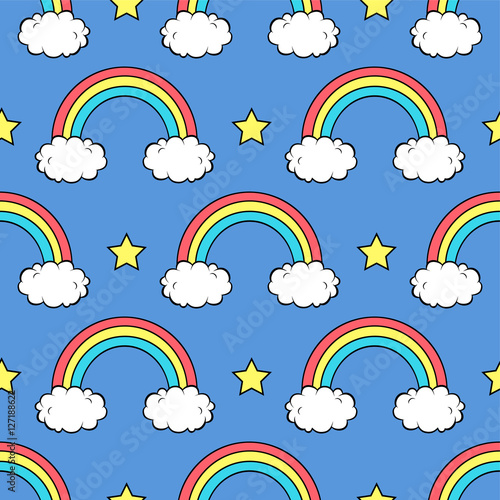 Fototapeta Vector seamless pattern with cute rainbows, clouds and stars
