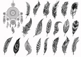 Dream catcher and hand drawn boho feathers for design element and adult coloring book pages - Stock Vector