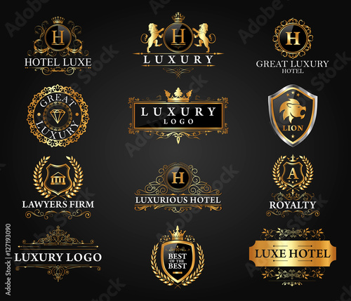 Great Luxury Set, Royal and Elegant Logo Vector Design