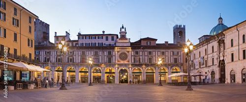 BRESCIA, ITALY - MAY 20, 2016: The panorama of Piazza della Loggia square at dusk.