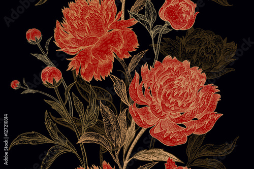 Floral pattern with peonies. - 127210814