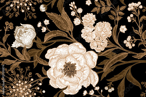 Floral pattern with white peonies. - 127210874