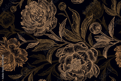 Seamless pattern with gold peony on a black background. - 127211626
