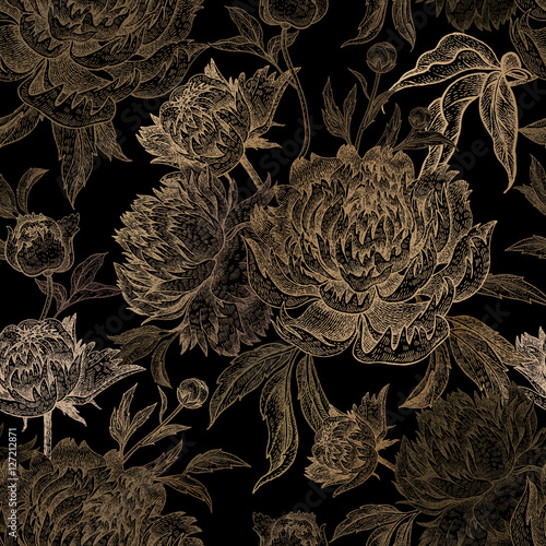 Seamless pattern with gold peony on a black background. - 127212871