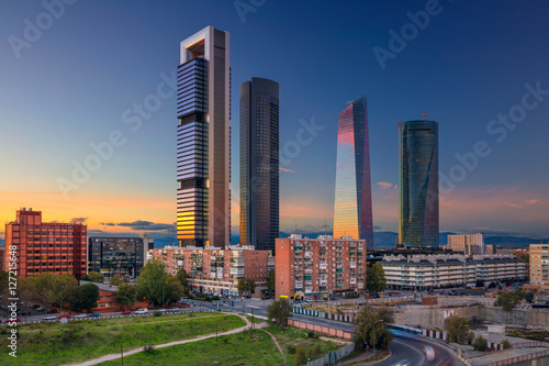 Madrid. Image of Madrid, Spain financial district with modern skyscrapers during sunset.