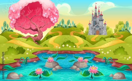 Foto op Canvas Kinderkamer Fantasy landscape with castle in the countryside