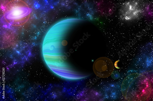 Space, light and interstellar star and nebulae Concept. Poster