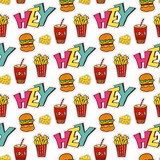 Fastfood seamless pattern. Bright cartoon background for menu decoration. Vector design