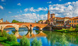 Bridge Ponte Pietra in Verona on Adige river