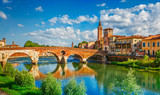 Bridge Ponte Pietra in Verona on Adige river - 127231441