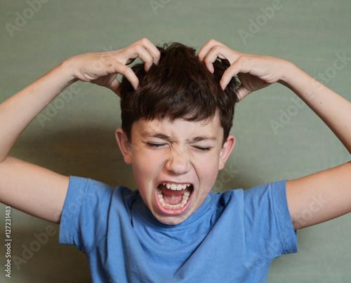 boy scratch his head Flea invasion