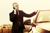 Young handsome businessman calling on cell phone next to his car
