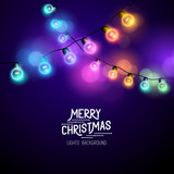 Christmas Fairy Lights - Seasonal decorations with colourful lights. Vector illustration.