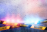 Police crime scene, rain background with police lights and accident tape - 127244095