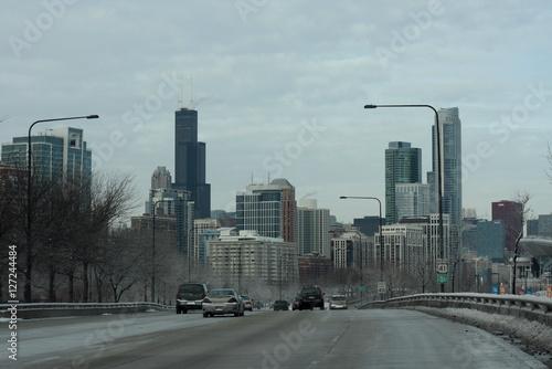 Przedmieścia Chicago zimą