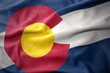 waving colorful flag of colorado state.