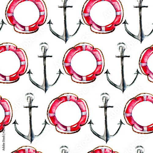 Fototapeta Seamless wallpaper with Life buoy and anchor