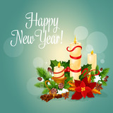 Happy New Year greeting card with candles
