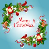 Merry Christmas fir, holly bow garlnds card