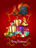 Merry Christmas card. Rooster cock vector poster