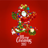 Merry Christmas 2017 poster. Gingerbread man