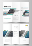 Tri-fold brochure templates on both sides. Easy editable layout in flat design. Abstract business background, blurred image, urban landscape, modern stylish vector.